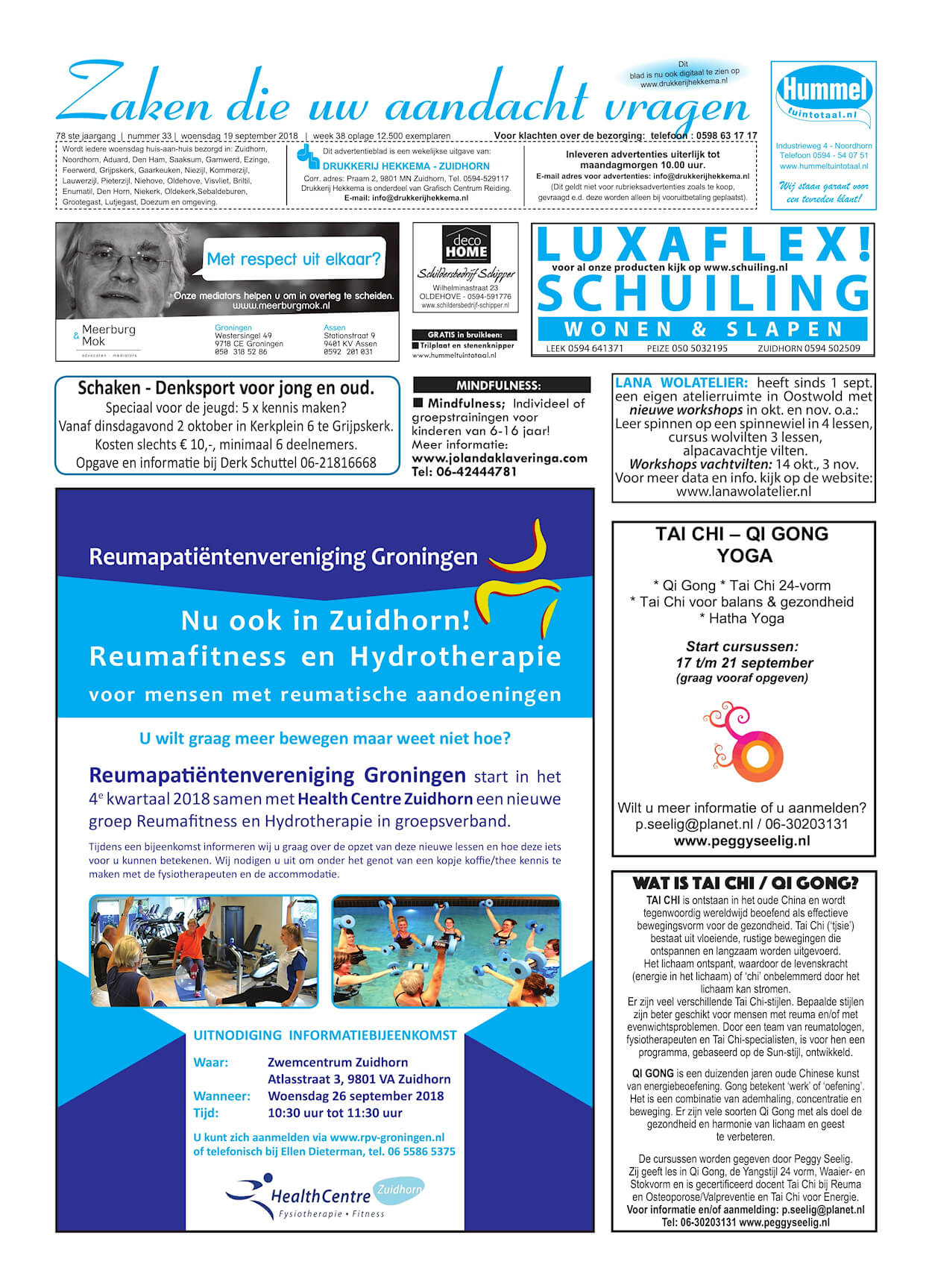 Drukkerij Hekkema - Zuidhorn - Zaken die uw aandacht vragen - 2018 week 38