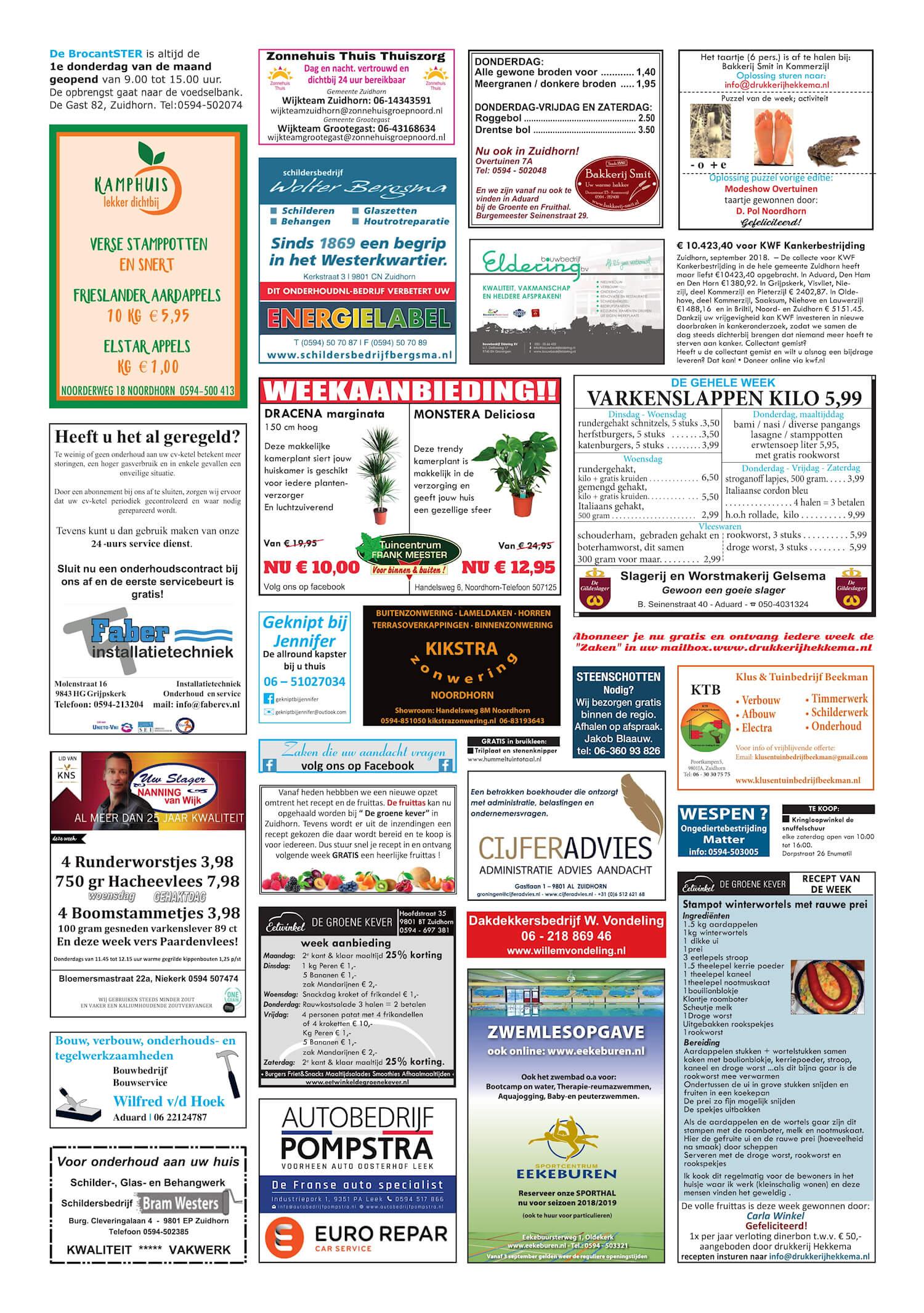 Drukkerij Hekkema - Zuidhorn - Zaken die uw aandacht vragen - 2018 week 39