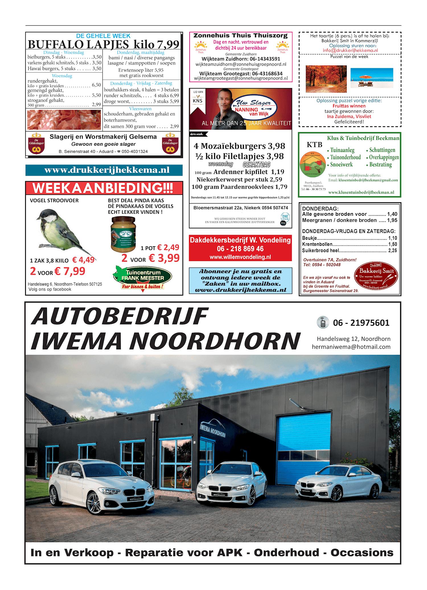 Drukkerij Hekkema - Zuidhorn - Zaken die uw aandacht vragen - 2018 week 42