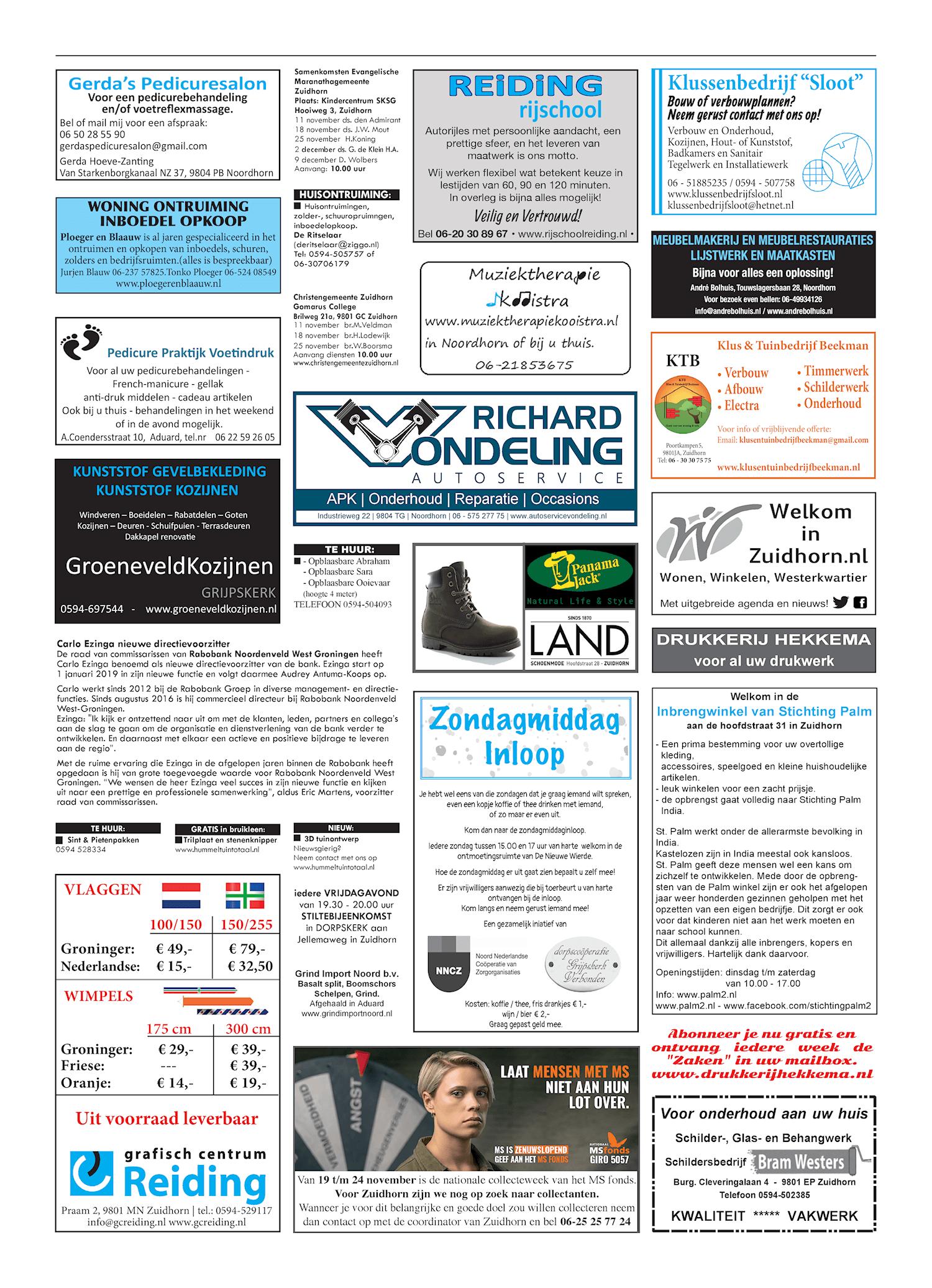 Drukkerij Hekkema - Zuidhorn - Zaken die uw aandacht vragen 2018 week 45