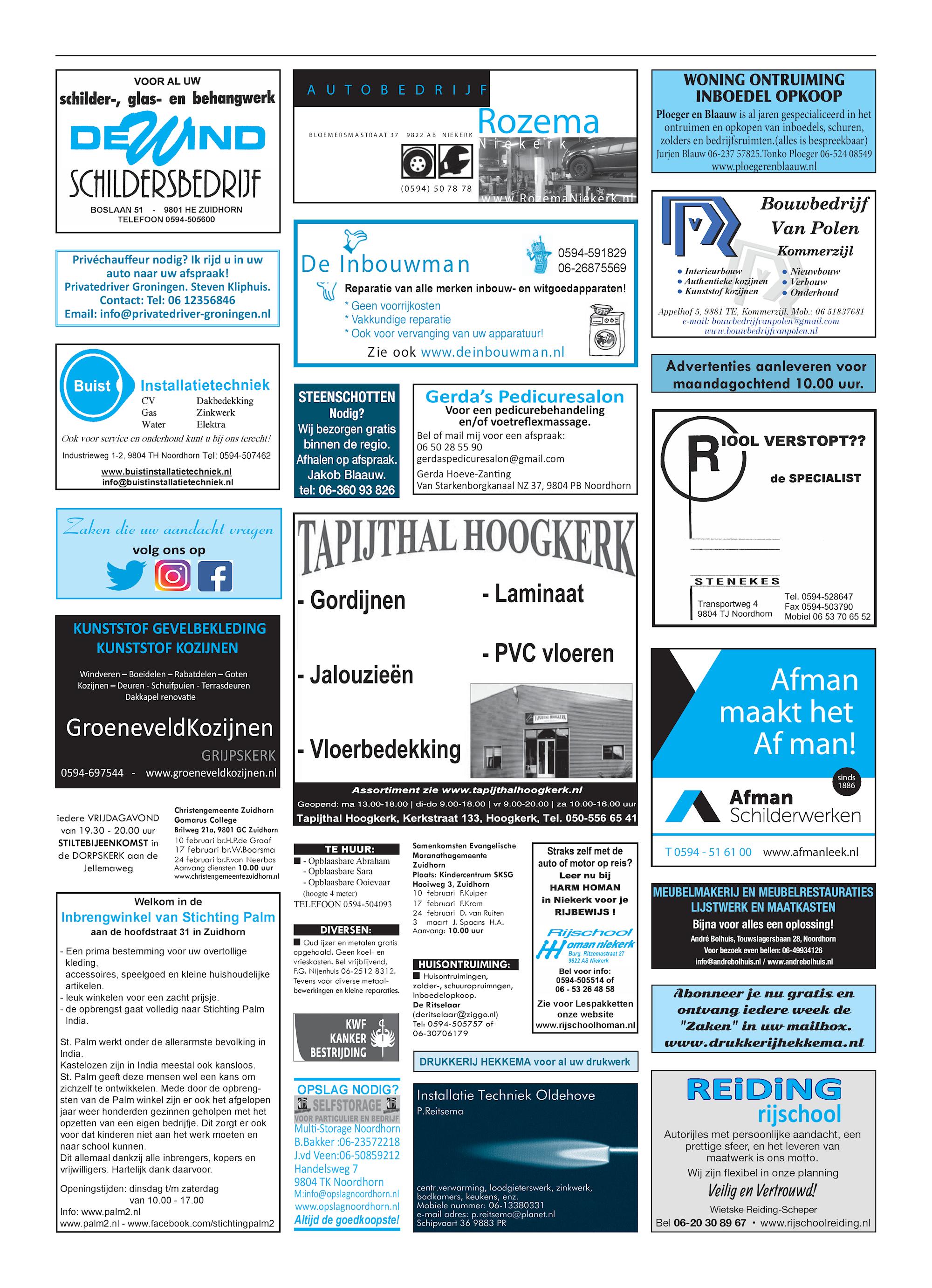 Drukkerij Hekkema - Zuidhorn - Zaken die uw aandacht vragen 2019