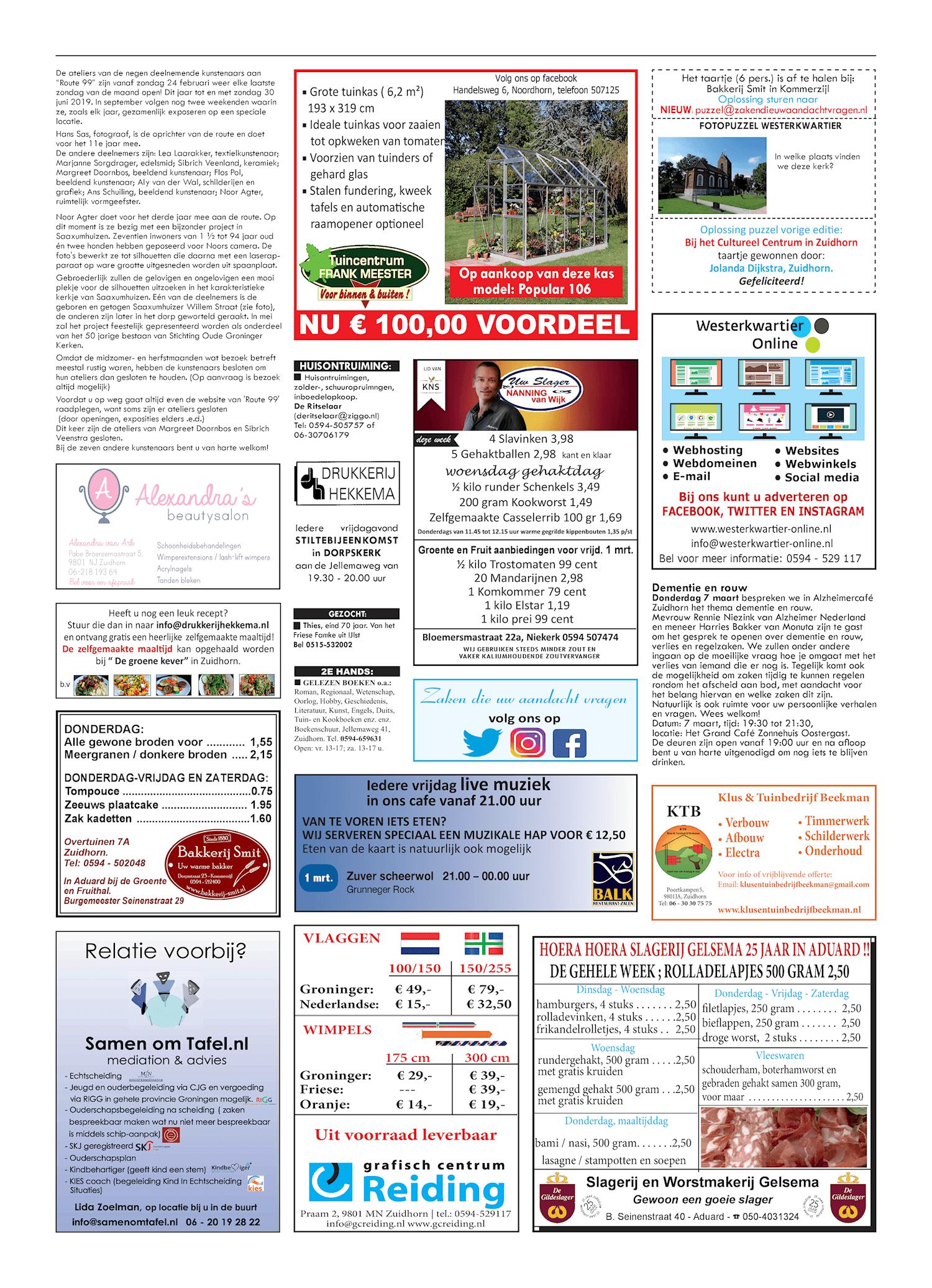 Drukkerij Hekkema - Zuidhorn - Zaken die uw aandacht vragen 2019 week 9