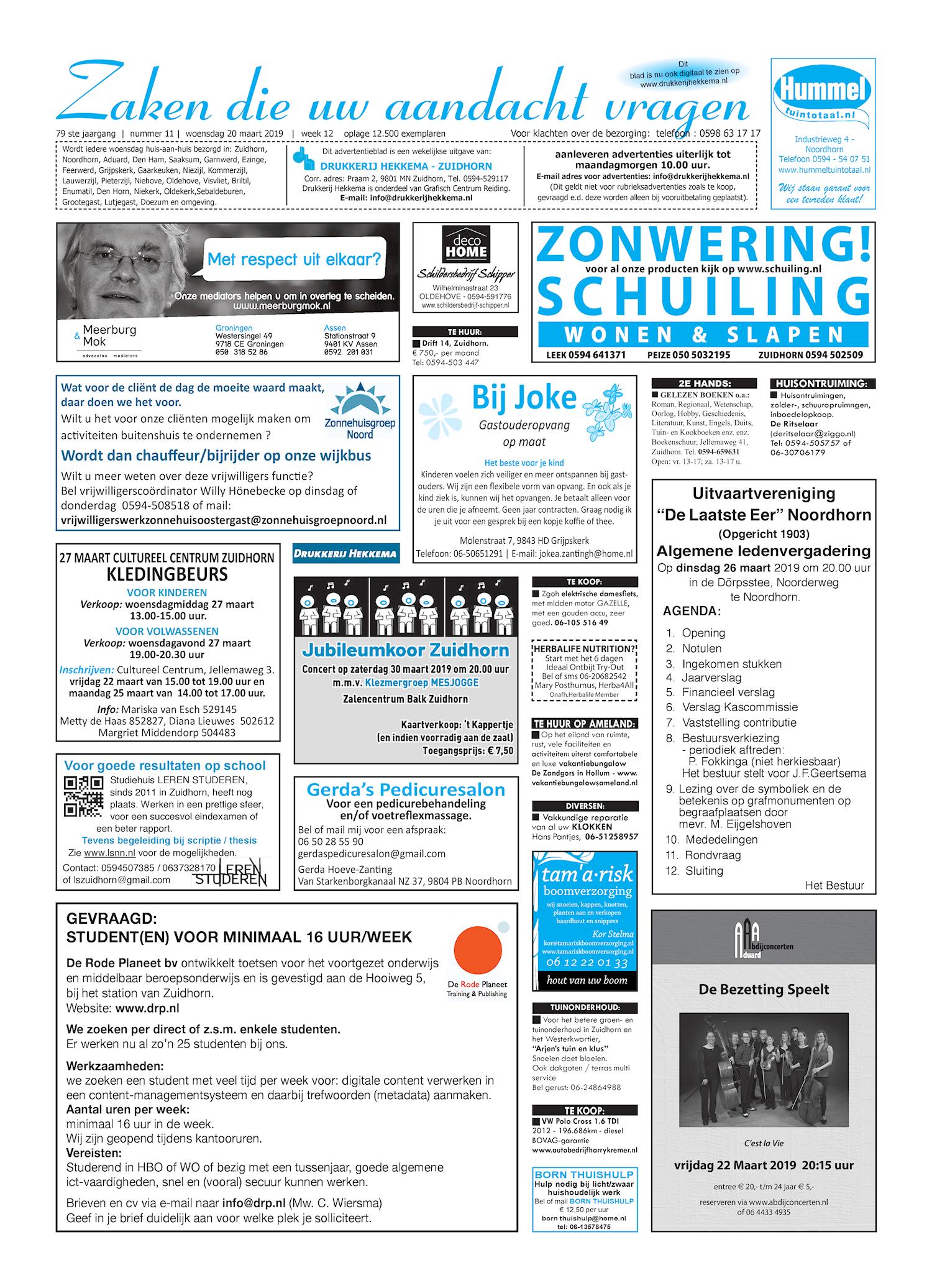 Drukkerij Hekkema - Zuidhorn - Zaken die uw aandacht vragen 2019 week 12