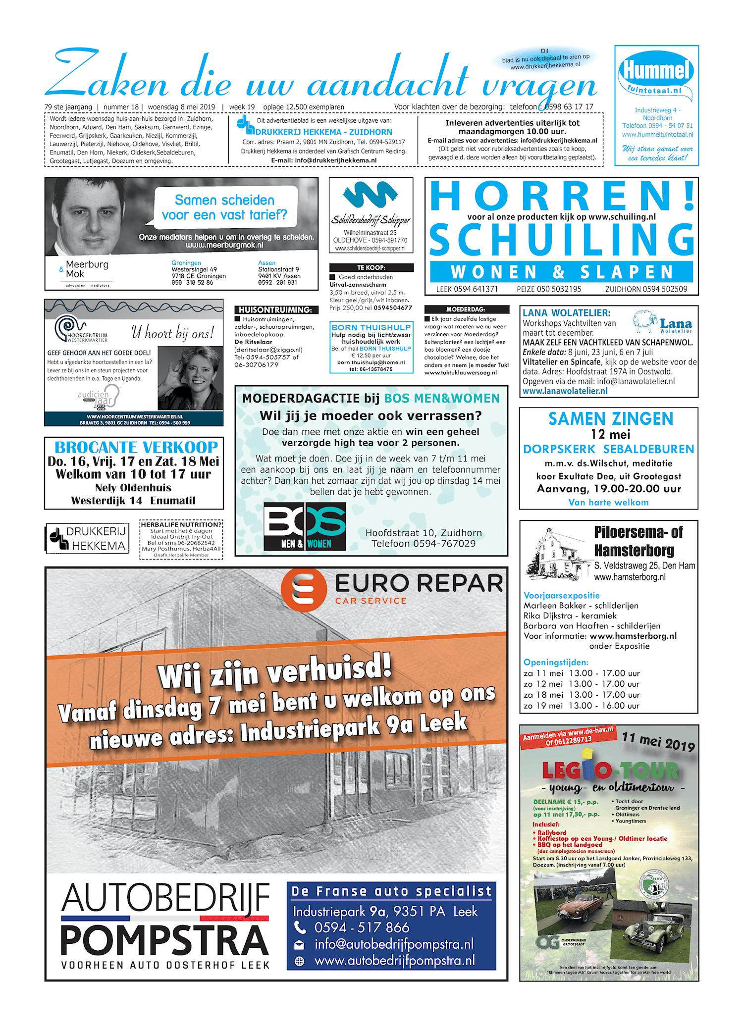 Drukkerij Hekkema - Zuidhorn - Zaken die uw aandacht vragen 2019 week 19