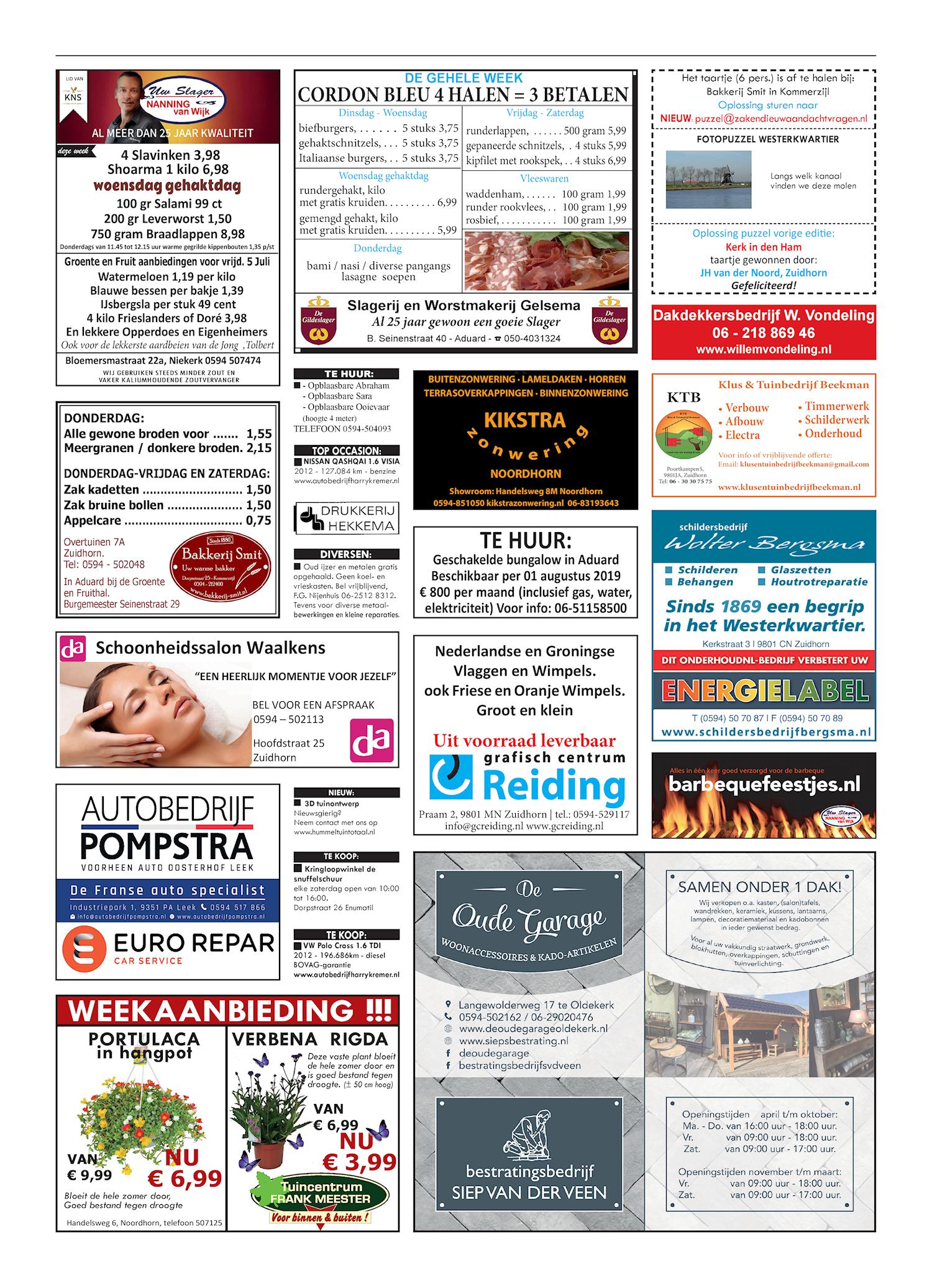 Drukkerij Hekkema - Zuidhorn - Zaken die uw aandacht vragen 2019 week 27