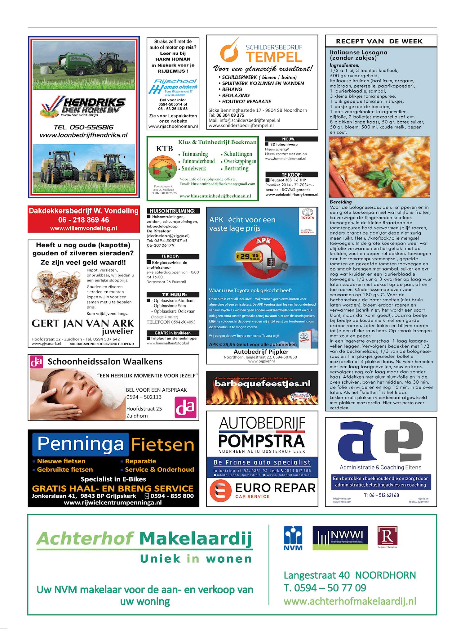 Drukkerij Hekkema - Zuidhorn - Zaken die uw aandacht vragen 2019 week 36