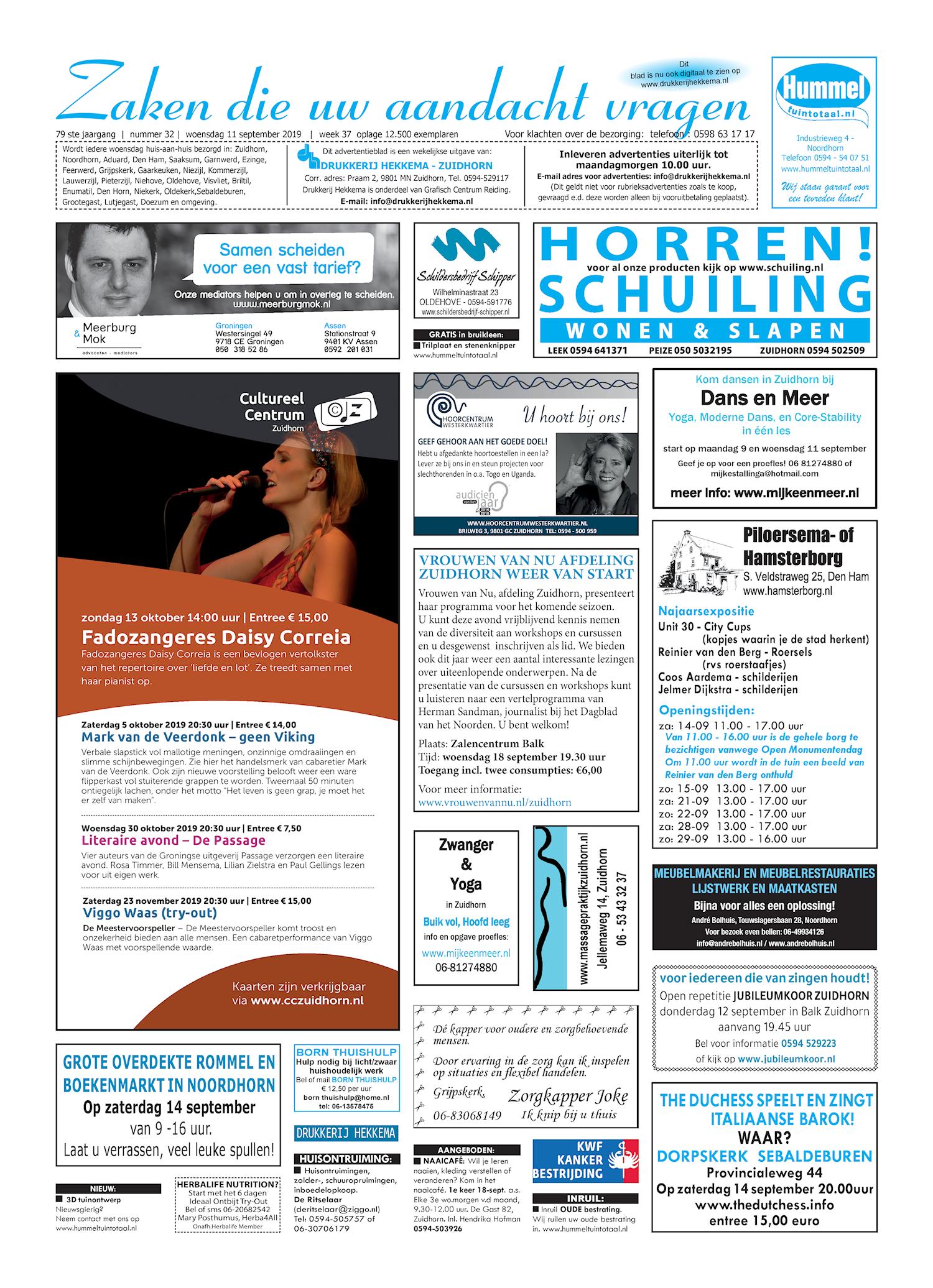 Drukkerij Hekkema - Zuidhorn - Zaken die uw aandacht vragen 2019 week 37