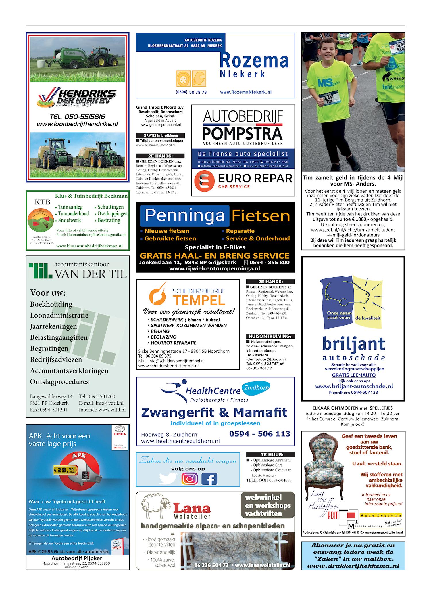 Drukkerij Hekkema - Zuidhorn - Zaken die uw aandacht vragen 2019 week 42