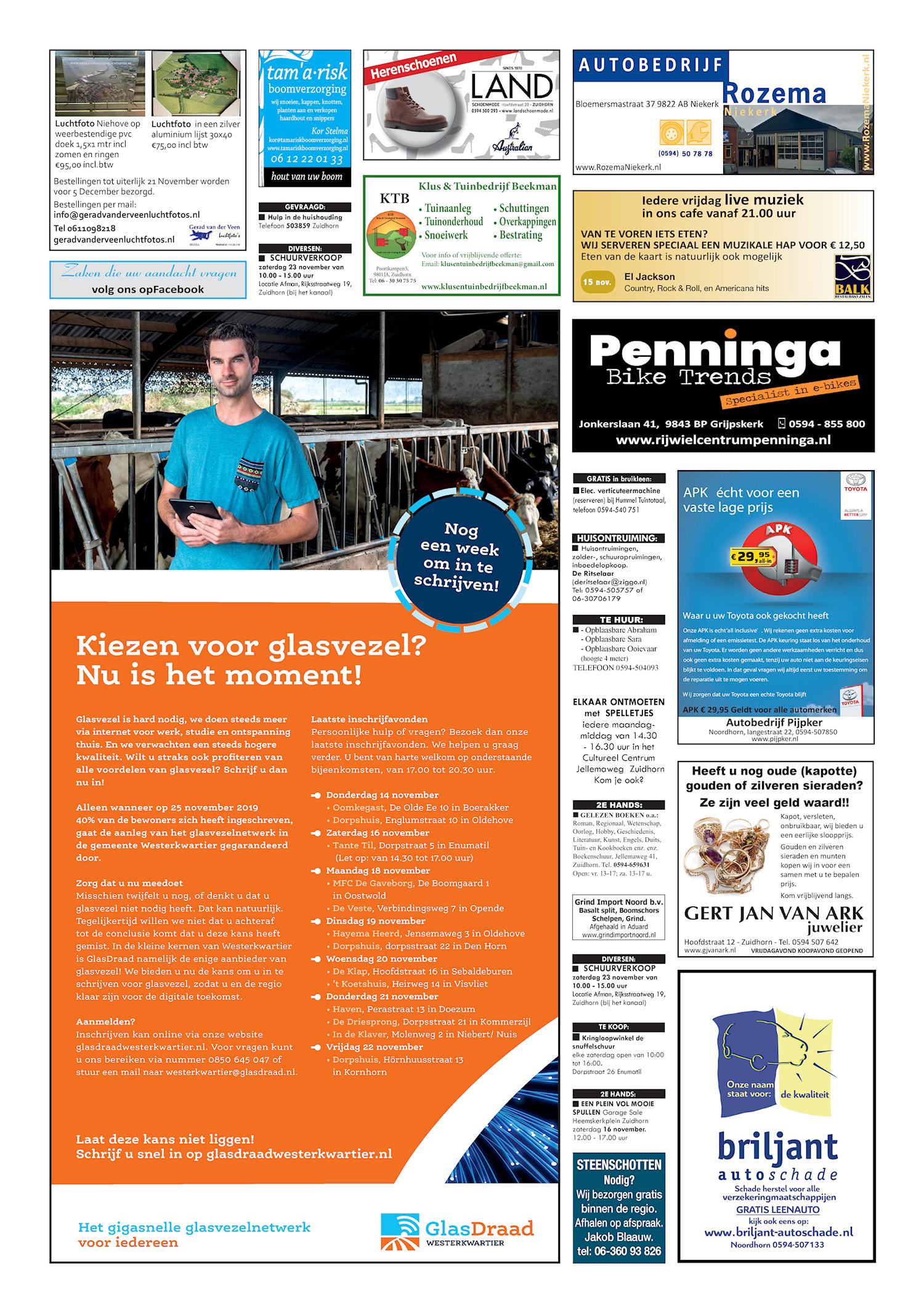Drukkerij Hekkema - Zuidhorn - Zaken die uw aandacht vragen 2019 week 46