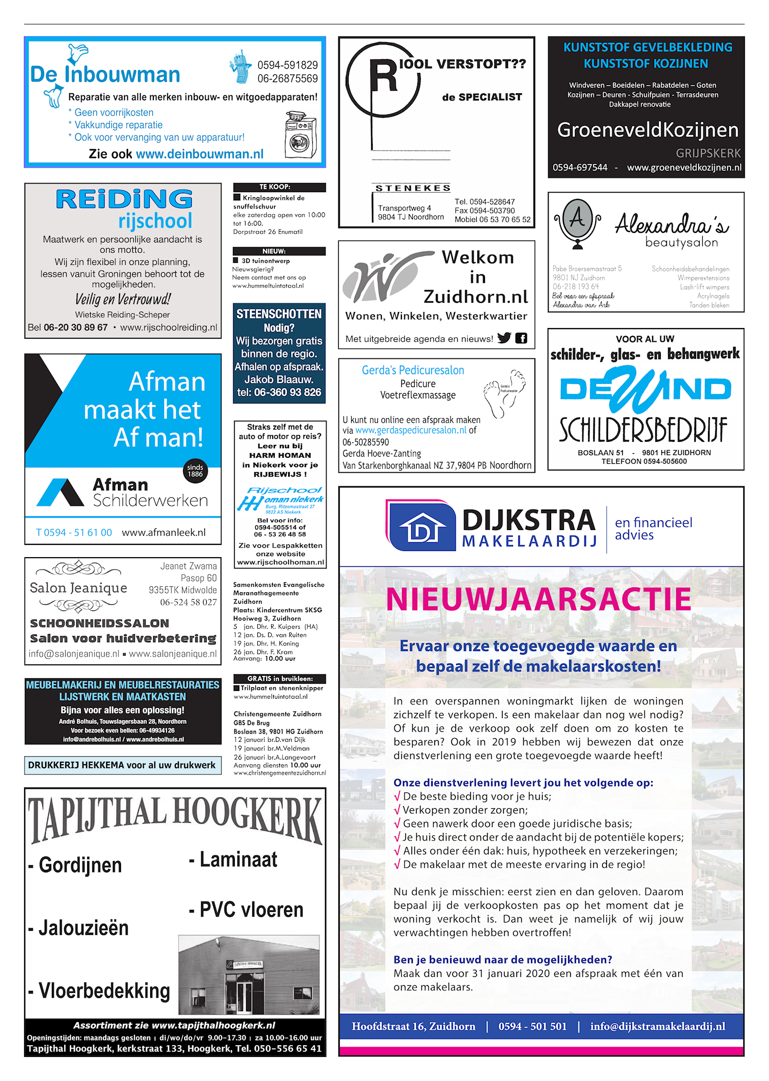 Drukkerij Hekkema - Zuidhorn - Zaken die uw aandacht vragen 2020 week 2