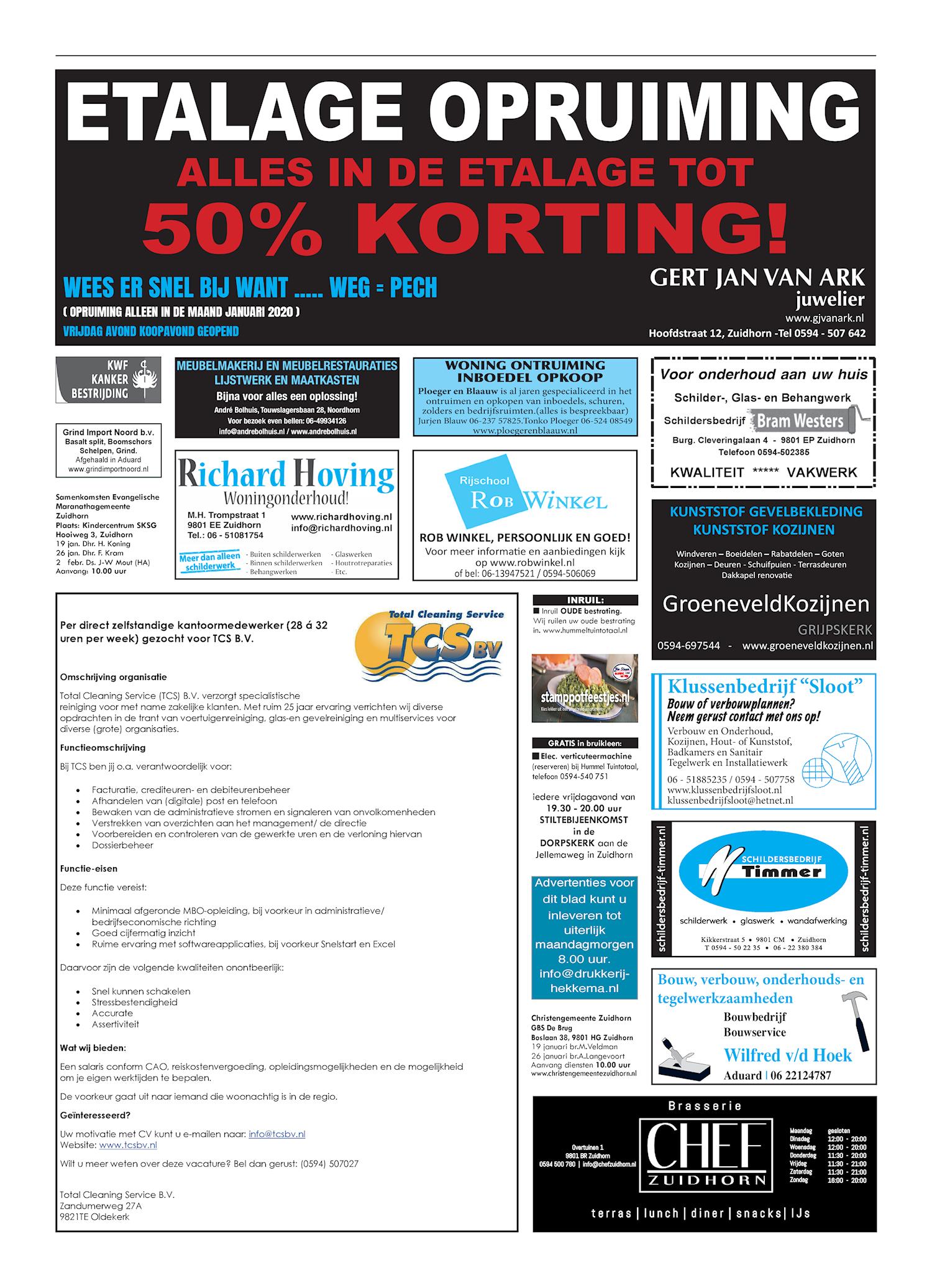Drukkerij Hekkema - Zuidhorn - Zaken die uw aandacht vragen 2020 week 3