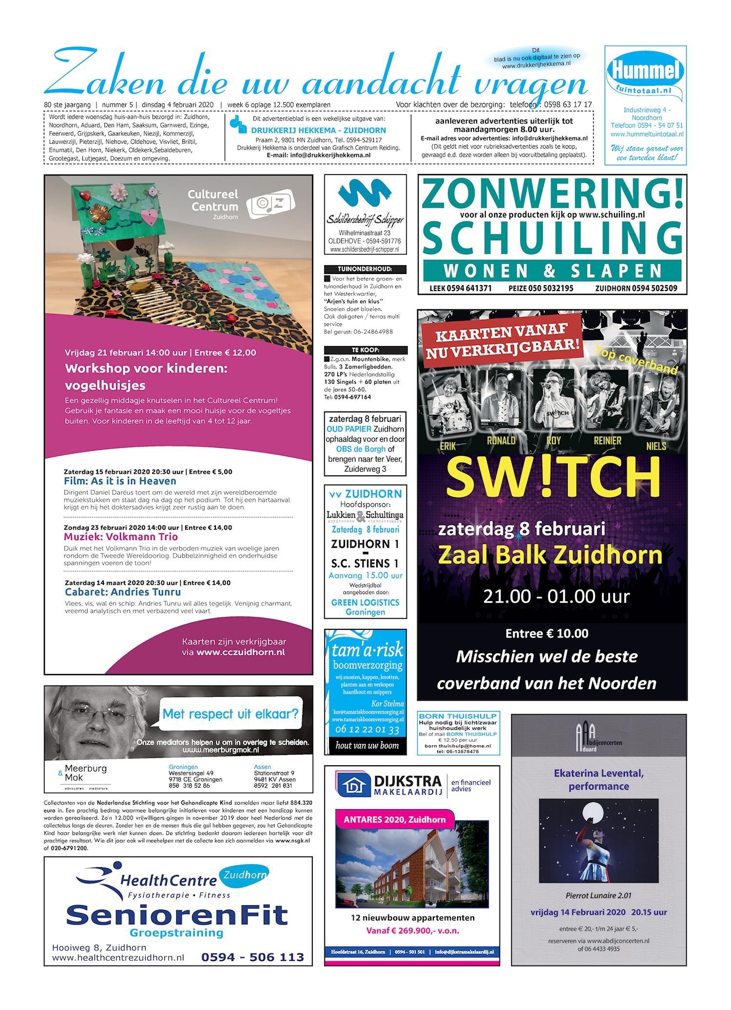 Drukkerij Hekkema - Zuidhorn - Zaken die uw aandacht vragen 2020 week 6
