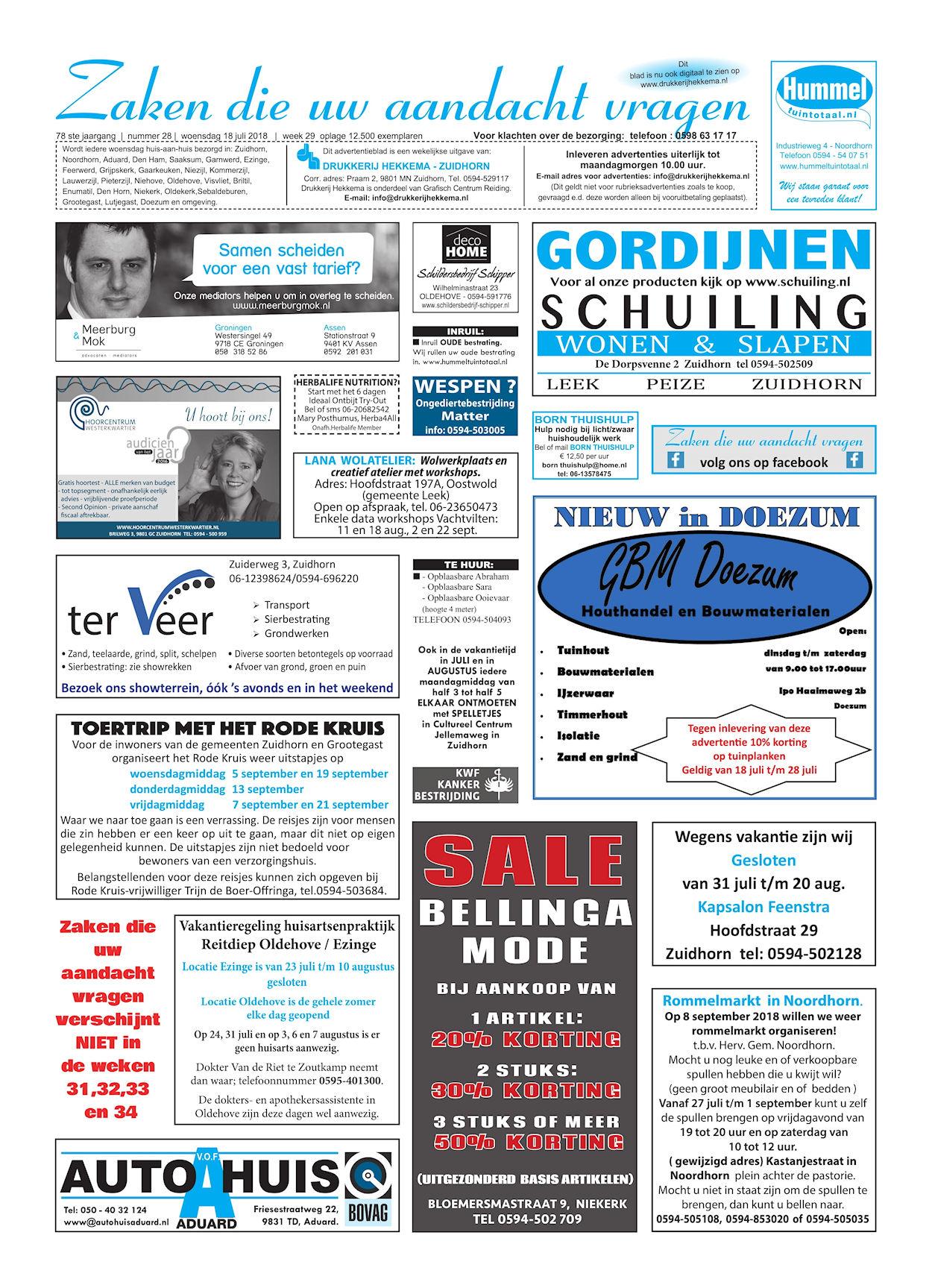 Drukkerij Hekkema - Zuidhorn - Zaken die uw aandacht vragen - 2018 week 29 (1)