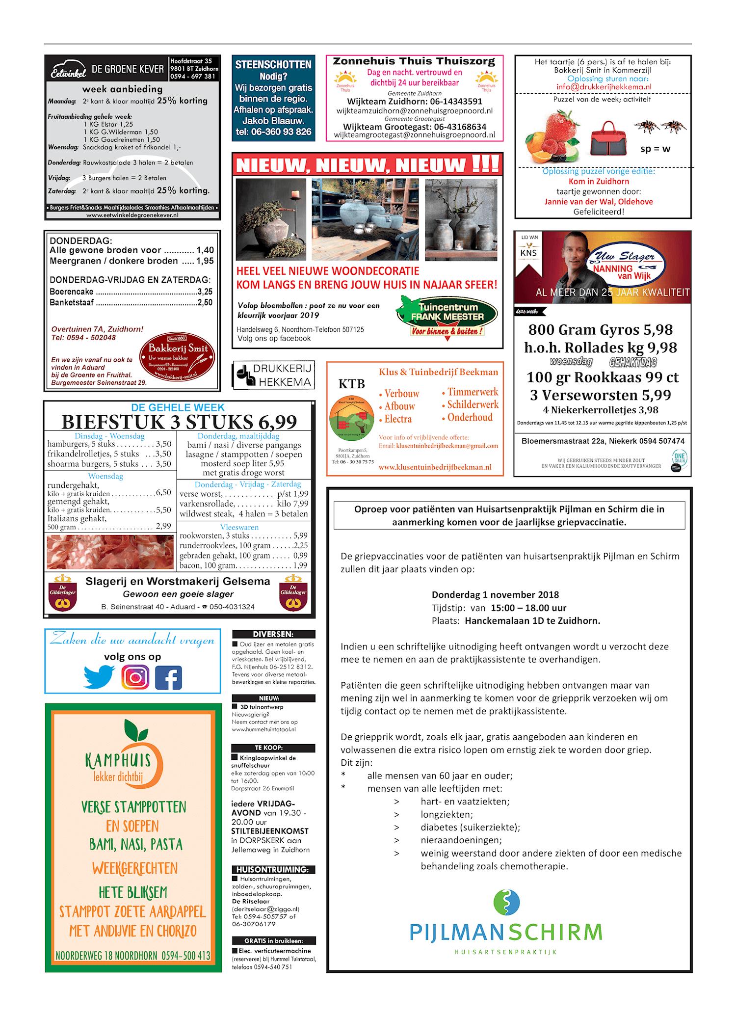 Drukkerij Hekkema - Zuidhorn - Zaken die uw aandacht vragen - 2018 week 41
