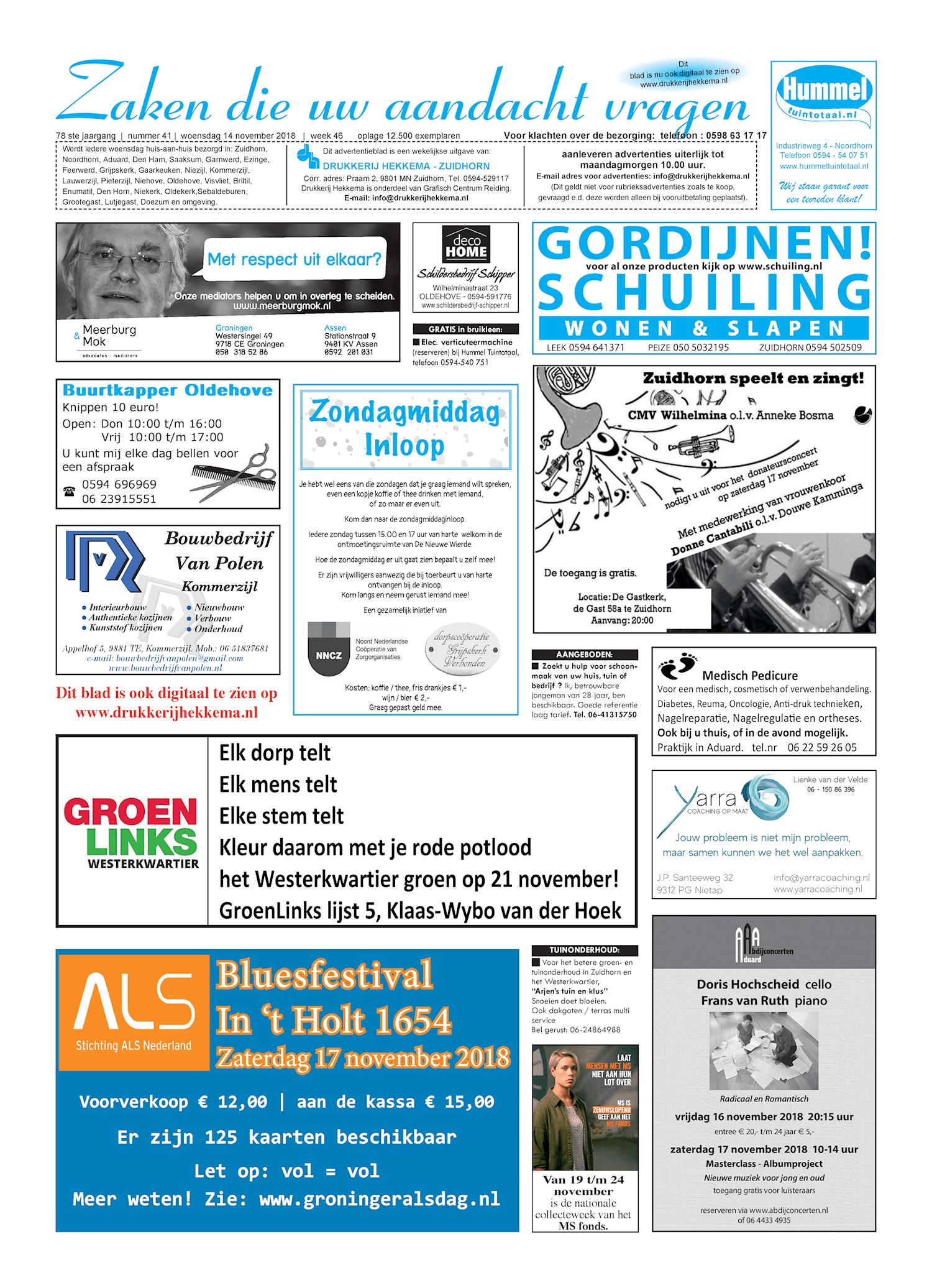Drukkerij Hekkema - Zuidhorn - Zaken die uw aandacht vragen 2018 week 46