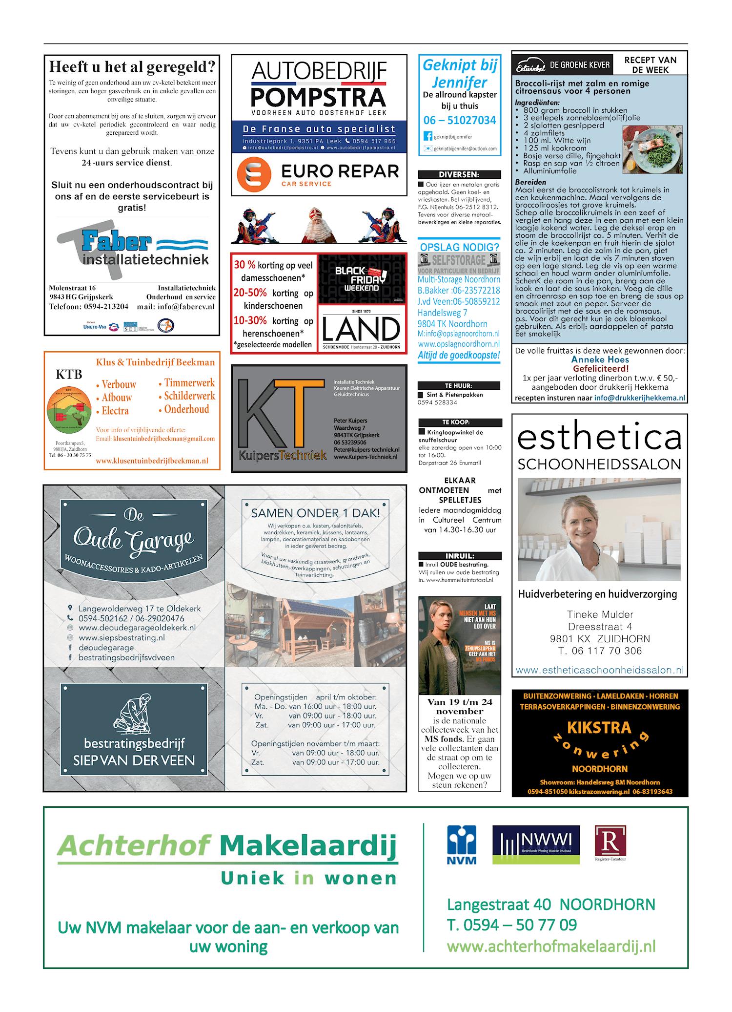 Drukkerij Hekkema - Zuidhorn - Zaken die uw aandacht vragen 2018 week 47