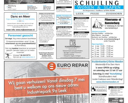 Drukkerij Hekkema - Zuidhorn - Zaken die uw aandacht vragen 2019 week 18