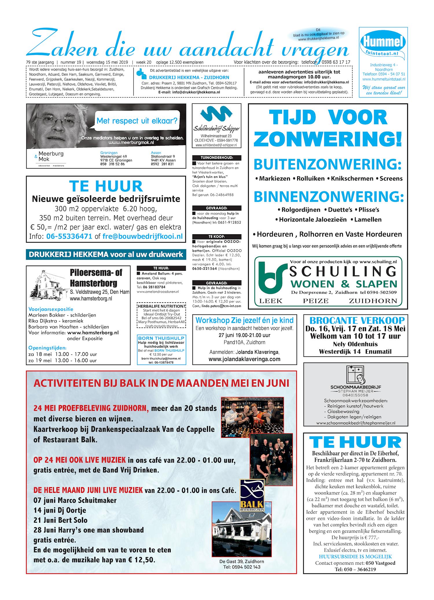Drukkerij Hekkema - Zuidhorn - Zaken die uw aandacht vragen 2019 week 20