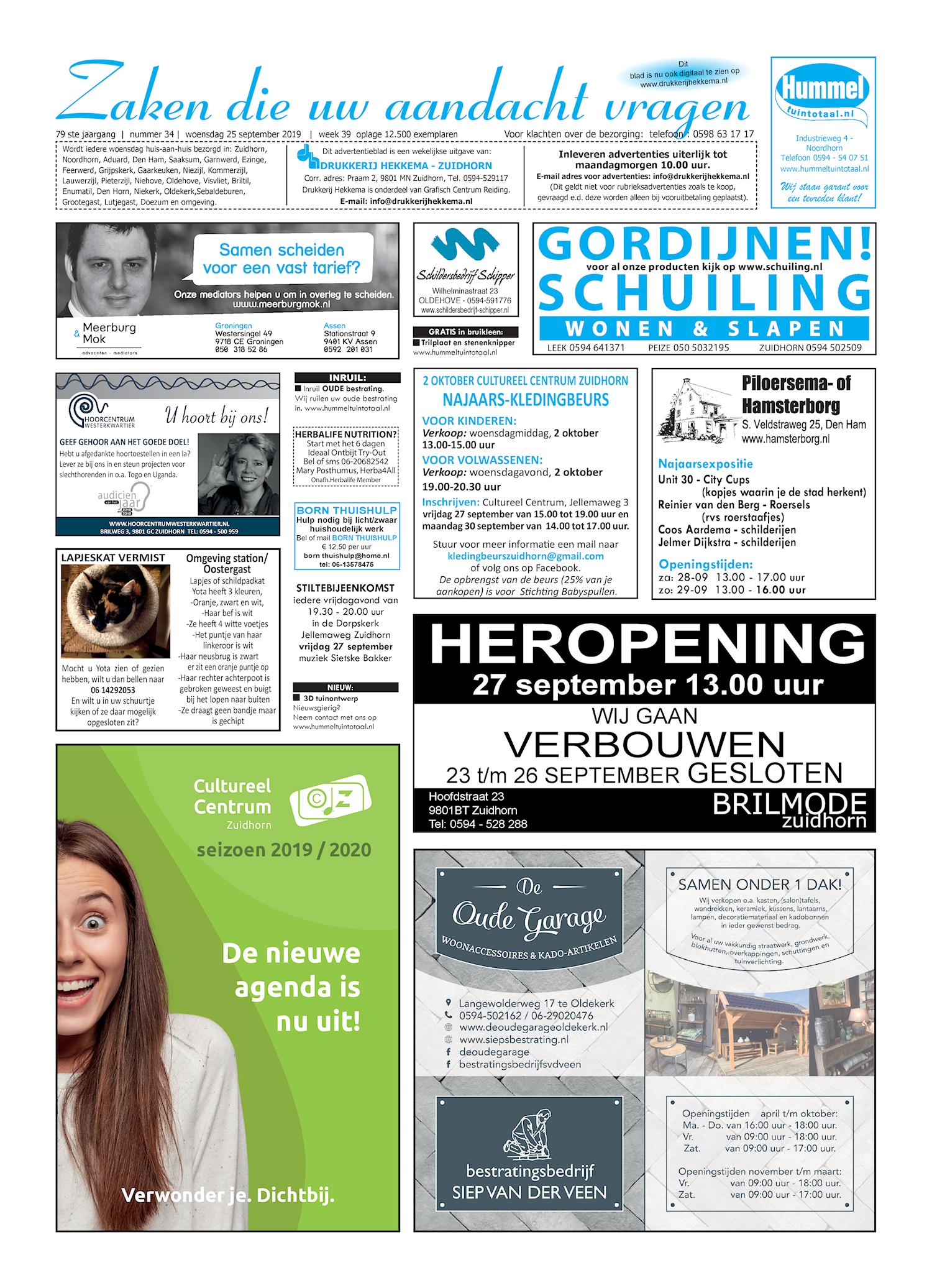 Drukkerij Hekkema - Zuidhorn - Zaken die uw aandacht vragen 2019 week 39