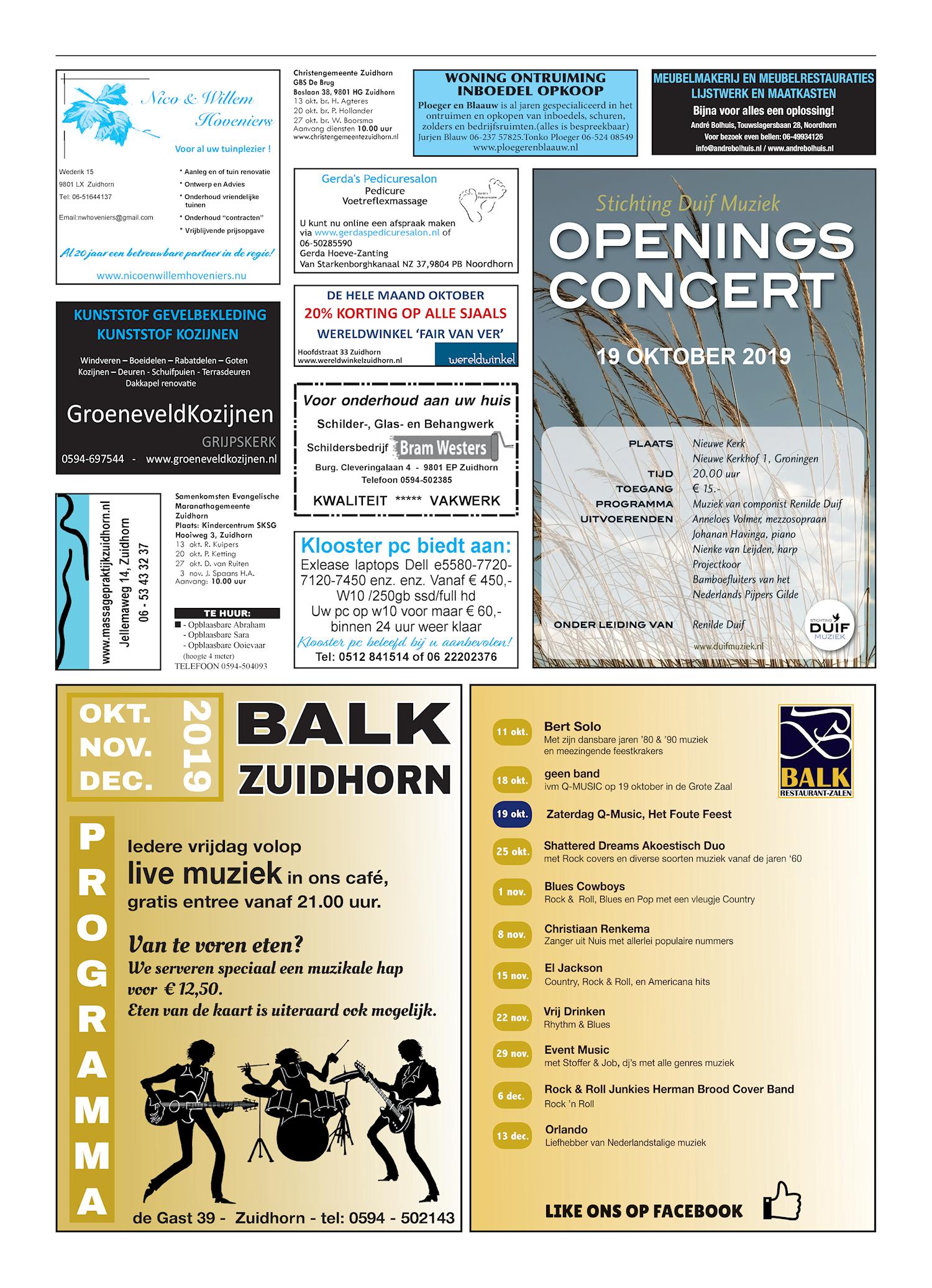 Drukkerij Hekkema - Zuidhorn - Zaken die uw aandacht vragen 2019 week 41