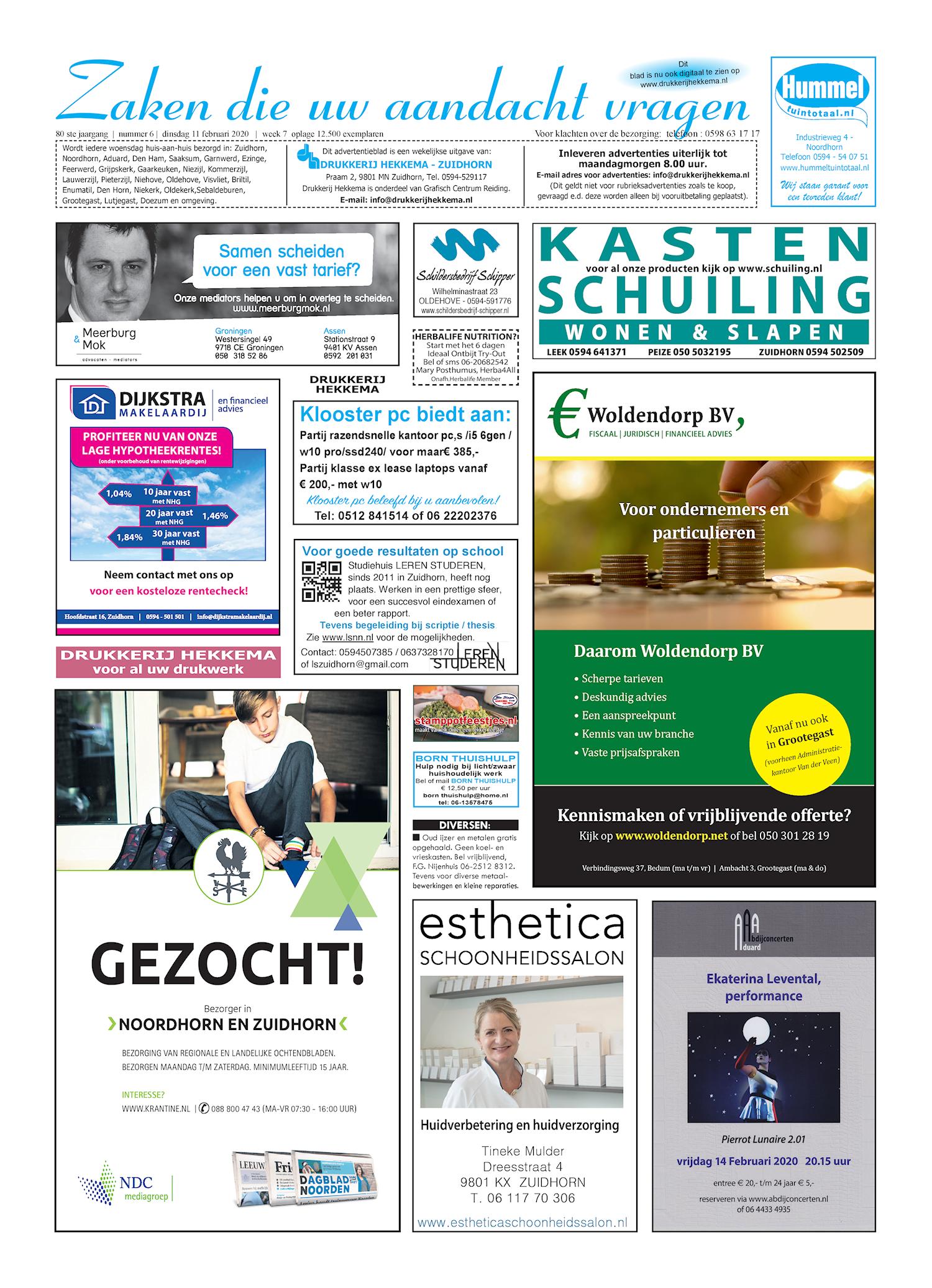 Drukkerij Hekkema - Zuidhorn - Zaken die uw aandacht vragen 2020 week 7