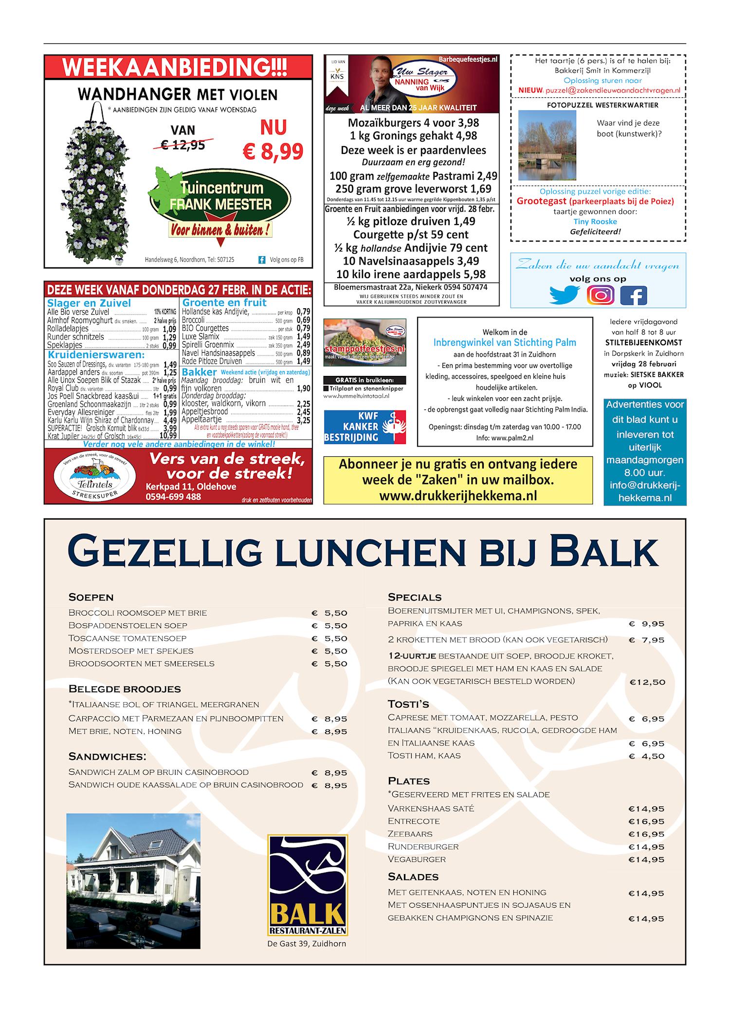 Drukkerij Hekkema - Zuidhorn - Zaken die uw aandacht vragen 2020 week 9